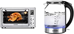 COSORI 12-in-1 Air Fryer Toaster Oven Convection Roaster with Rotisserie & Dehydrator, 30L, Silver & Electric Kettle Glass Boiler Hot Water & Tea Heater with LED Indicator Light, 1.7L, Black
