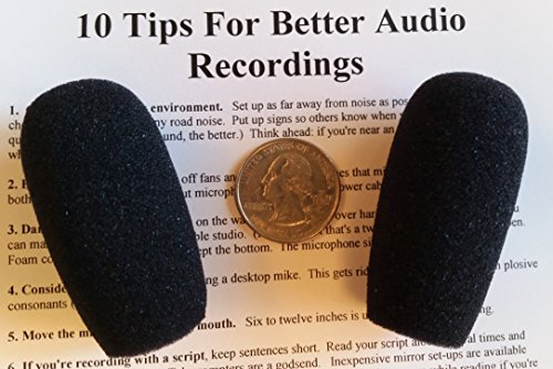 (Compete Audio CA945 foam microphone windscreens (microphone covers) (2-pack) for use mini-shotgun mics, larger headsets and desktop microphones)