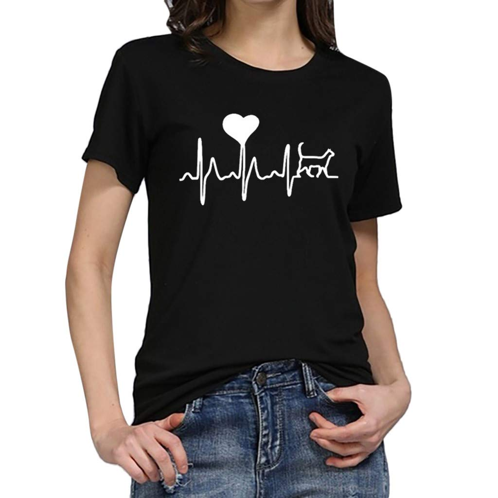 Women Short Sleeve T-Shirt Crewneck Heart Print Tee Casual Solid Tees Blouse Tunic Tops (S, Black)
