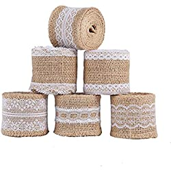 6 Packs Burlap Ribbon Roll with White Lace, Natural Jute Roll for DIY Crafts Home Party Wedding Decoration