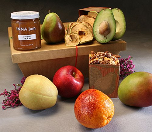 Organic Harmony Gift Basket Made to Order by Manhattan Fruitier with 6 Organic Seasonal Fruit, Organic Dried Fruits & Nuts, and Organic Small Batch Jam
