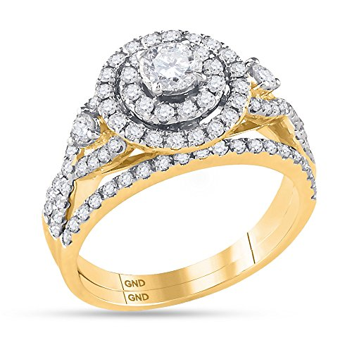 14K Yellow Gold Bridal Halo Cluster Infinity Love Real Diamond Engagement Ring Set 1.5 CT (I1-I2 clarity; G-H color) by Jewels By Lux