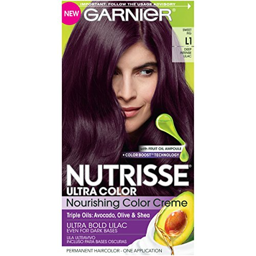 Garnier Nutrisse Ultra Color Nourishing Permanent Hair Color Cream, L1 Deep Intense Lilac Sweet Fig (1 Kit) Purple Hair Dye (Packaging May Vary)