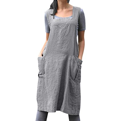 Women Plus Size Overall Pinafore Dress, Cotton Linen Casual Bib Pinafore  Apron Garden Work Dresses Square Cross Apron Dress with Pockets