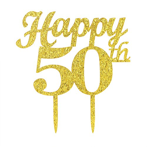 Gold Happy 50th Birthday Cake Topper - Wedding Anniversary Party Decoration Photo Props