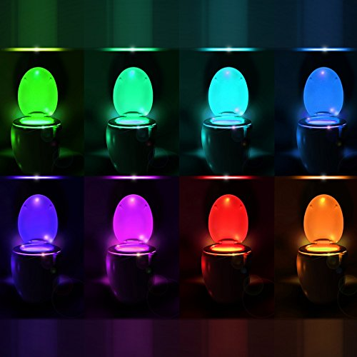 Toilet Bowl Night Light with Motion Sensor LED by RainBowl – Funny & Unique Birthday Gift Idea for Men, Him, Dad…