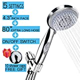 High Pressure Handheld Shower Head Handheld Shower Head, 4.3'' giant face / 6.58 ft (80 inch) Stainless steel luxury hose/Adjustable Bracket/Pause Switch with Adjustable Solid Brass Shower Arm Mount
