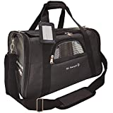 Mr. Peanut's Premium Airline Approved Soft Sided Pet Carrier - 18LX10WX11H Luxury Travel Tote with Premium Brand Auto Self Locking Zippers, Plush Faux Fleece Bed with Strong Plywood Base Insert