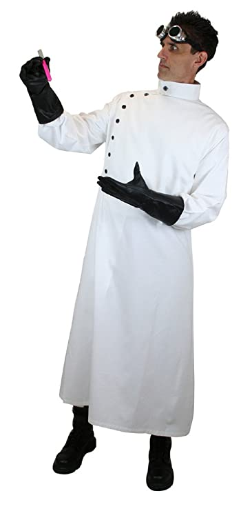 Men's 1900s Costumes: Indiana Jones, WW1 Pilot, Safari Costumes Historical Emporium Mens Cotton Twill Mad Scientist Howie Lab Coat $74.95 AT vintagedancer.com