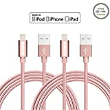 Vinpie 2Pack 10FT Extra Long Durable USB Cable Nylon Braided 8 Pin Lightning Sync and Charging Cord with Aluminum Connector for iPhone 6/6s/6 plus/6s plus, 5c/5s/5, iPad Air, iPod Nano/Touch (2pack 10ft Rose Gold )