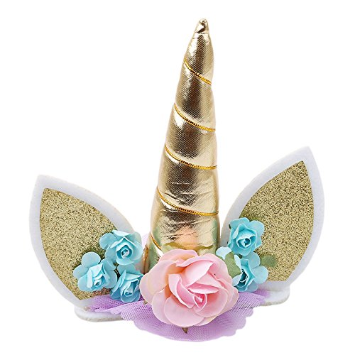 Unicorn Horns Cake Topper Gold Silver Pink Kids Birthday Cake Decoration Halloween Birthday Party Event Supplies