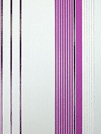 Tapete weiß silber glitzer  Vlies Tapete PS Aktion 13204-10 Gestreift Streifen weiß lila ...