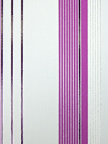 Vlies Tapete Ps Aktion 13204 10 Gestreift Streifen Weiss Lila Silber