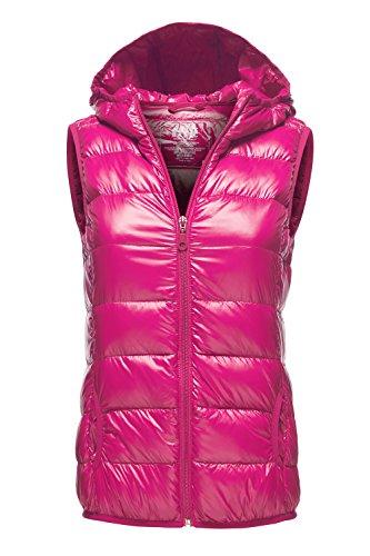 Warm Ultra Light Packable Down Parka Hoodie Vest Jackets, 034 - Pink, US M