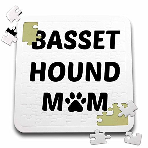 3dRose Xander animal quotes - Basset Hound mom, picture of a dog paw on a white background - 10x10 Inch Puzzle (pzl_256578_2)