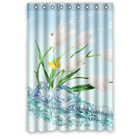 Colorful Tulip Shower Curtain Rings Included 100 Polyester Waterproof 48quot