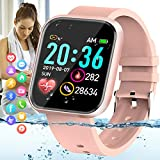 Amokeoo Smart Watch,Fitness Watch Activity Tracker with Heart Rate Blood Pressure Monitor Bluetooth Smartwatch IP67 Waterproof Sports Tracker Watch Touch Screen for Android iOS Phones Men Women Pink