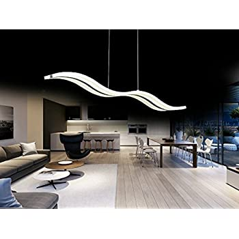 Create For Life Modern Wave LED Pendant Light Fixture Ceiling Chandelier Hanging