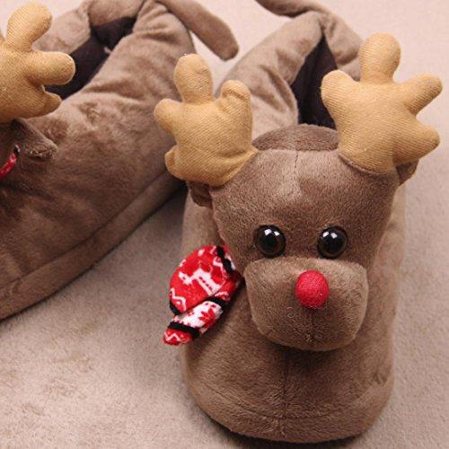 Noël mignon Elk Gants (Unisexe Homme et Femme pantoufles en peluche) upxiang hiver chaud coton intérieur/extérieur Chaussons coton Chaussures, marron, 34-36/24.5cm