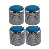 BQLZR Domed Volume Tone Control Metal Knob Silver With Blue Top Electric Guitar Pack of 4