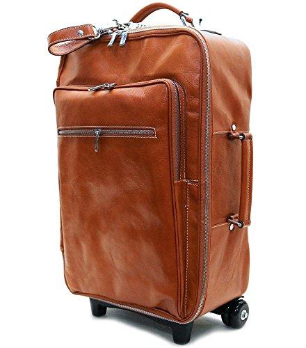 Floto Luggage Venezia Handmade Trolley Wheeled Duffle, Olive/Honey Brown, Large