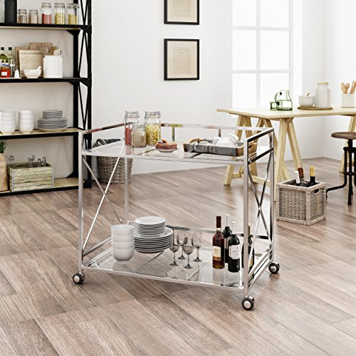 Christopher Knight Home 304469 Danae Industrial Modern Iron and Glass Bar Cart, Silver, (Chrome Bar Cart)