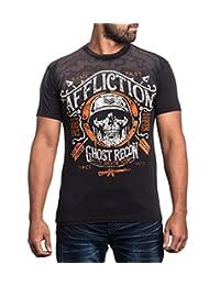 Affliction Men Shirt Live Fast Ghost Skull Soldier S/S Crew Neck in Lava Black wash