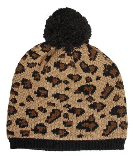 Leopard Print Winter Beanie w/ Pom
