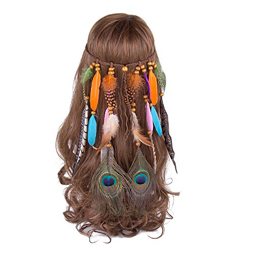 AWAYTR Feather Headband Indian Headpiece - Bohemian Tassels Hair Band Headwear For Women Girls (Color F) ()