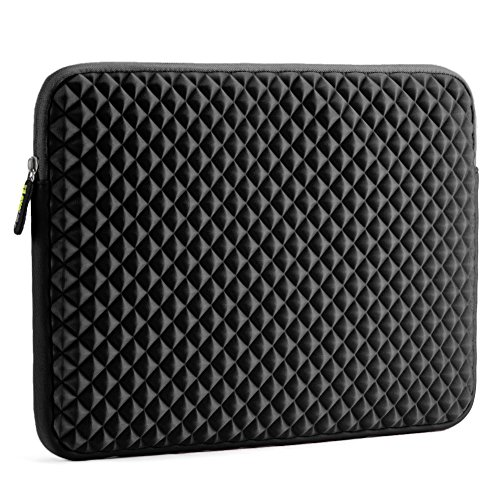 Laptop Sleeve, Evecase 15~15.6 inch Diamond Foam Splash & Shock Resistant Neoprene Universal Sleeve Zipper Case Bag for ASUS ACER HP LENOVO DELL TOSHIBA SAMSUNG Chromebook Ultrabook Notebook - Black (Series Notebook Bag)