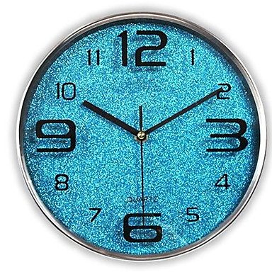 WWJ Modern/Contemporary / Casual Family Wall ClockRound Glass 30304 Indoor/Outdoor / Indoor / Outdoor Clock , blue