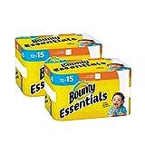 Bounty Essentials - Toallas de papel, 12 rollos grandes (2 unidades), color blanco