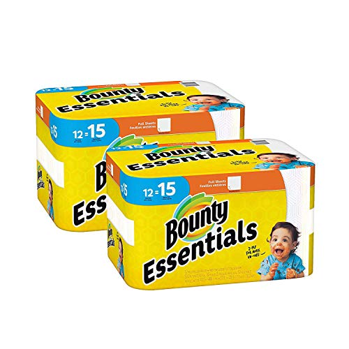 Bounty Essentials Full Sheet Paper Towels, 24 Large Rolls = 30 Regular Rolls (Kitchen Rolls Towel)