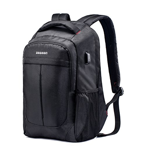 Laptop Backpack�sosoon Business Anti-theft Water Resistant Polyester Laptop Backpack With Usb Char
