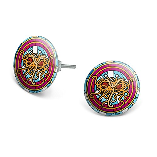 GRAPHICS & MORE Flying Spaghetti Monster Stained Glass Novelty Silver Plated Stud Earrings
