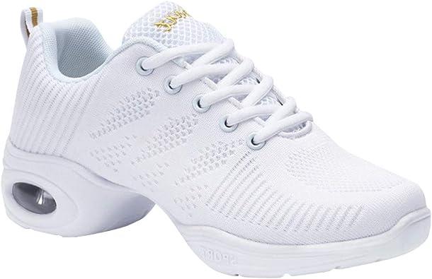 Gtagain Zapatos Danza Mujer - Moderno Jazz Cordones Zapatillas Negro Informal Baile Running Sneaker Aire Libre Suela Dividida Deportes (Los Zapatos Son más pequeños): Amazon.es: Zapatos y complementos