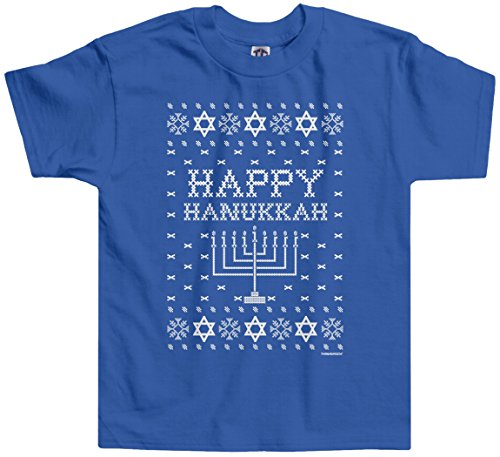 Threadrock Little Boys' Happy Hanukkah (Ugly Sweater) Toddler T-Shirt 3T Royal Blue