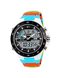ufengke® fashion waterproof diving sports watch for men,boys children alarm luminous wrist watch,white case blue band