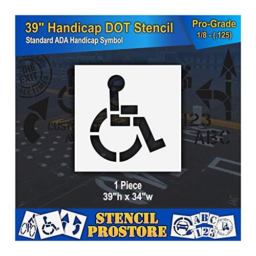 "Parking Lot Stencils - 39 in - Handicap - ADA Stencil (1-Part) - 39"" x 34"" x 4"" Stroke x 1/8"" (128 mil) - Pro-Grade"