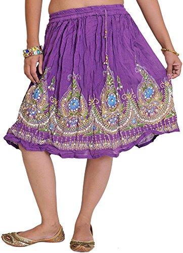 Portátil Bordado Corto Amaranth De Pantalón Tapa Purple Con Flores Diseño Exotic Falda Lentejuelas Y India gI1UF