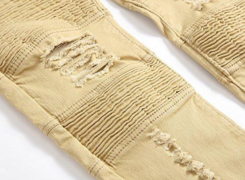 Retro Allungare Con Distrutto Libero Fit Slim Strappati Uomo 1 Jeans Fori Denim Giallo Moda Tempo Toppa UwH7qfx8