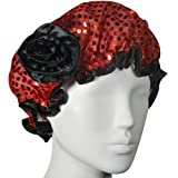 Kella Milla Stylish Satin Shower Cap, Red Glitter/Black Rose