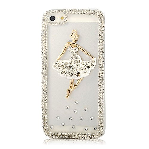 KAKA(TM Phone Case for iPod, iPod Touch 6 3D Rhinestone Crystal Clear Back Cover with Bling Diamond Dancing Girl