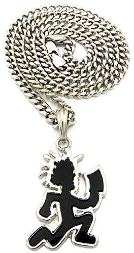 GWOOD Juggalo With Cleaver Silver Color With Black Enamel Pendant 24 Inch Necklace Cuban Link (Hatchetman Pendant)