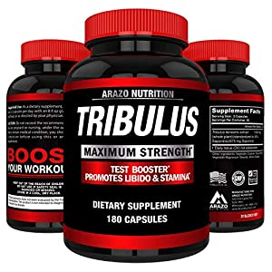 Tribulus Terrestris Extract Powder | Testosterone Booster with Estrogen Blocker | 45% Steroidal Saponins 1500mg | Arazo Nutrition USA – 180 Capsules