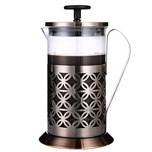 Senhs French Press Coffee Maker 600ml 20 Oz Coffee Press Intensity Resist Glass Stainless Steel Copper Plated Surface Celtic Design Tea Maker - Copper