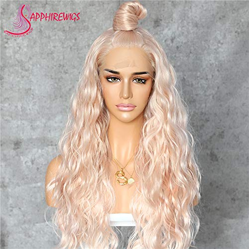 Sapphirewigs Long Rose Gold Blonde Color Natural Curly Daily Makeup Heat Resistant Synthetic Lace Front Wedding Wedding Party Wigs (Rose Gold Peach Sapphire)
