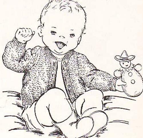 Single Cardigan (Infant's Crocheted Cardigan Baby Sweater Vintage Crochet Single Pattern)
