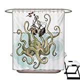 Circo Fish Shower Curtain BlountDecor Kraken Shower Curtains 3D Digital Printing Octopus Sinking The Pirate Ships Greek Myth Fish Culture Cartoon Artwork Image Custom Made Shower Curtain W48 x L72 Tan Pale Green