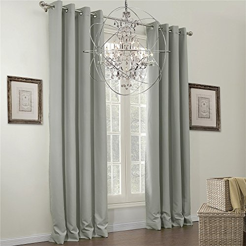 IYUEGO Classic Grey Solid Grommet Top Lining Blackout Curtains Draperies With Multi Size Custom 100